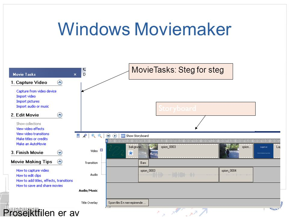 Windows Moviemaker Prosejktfilen er av typen.mswmm