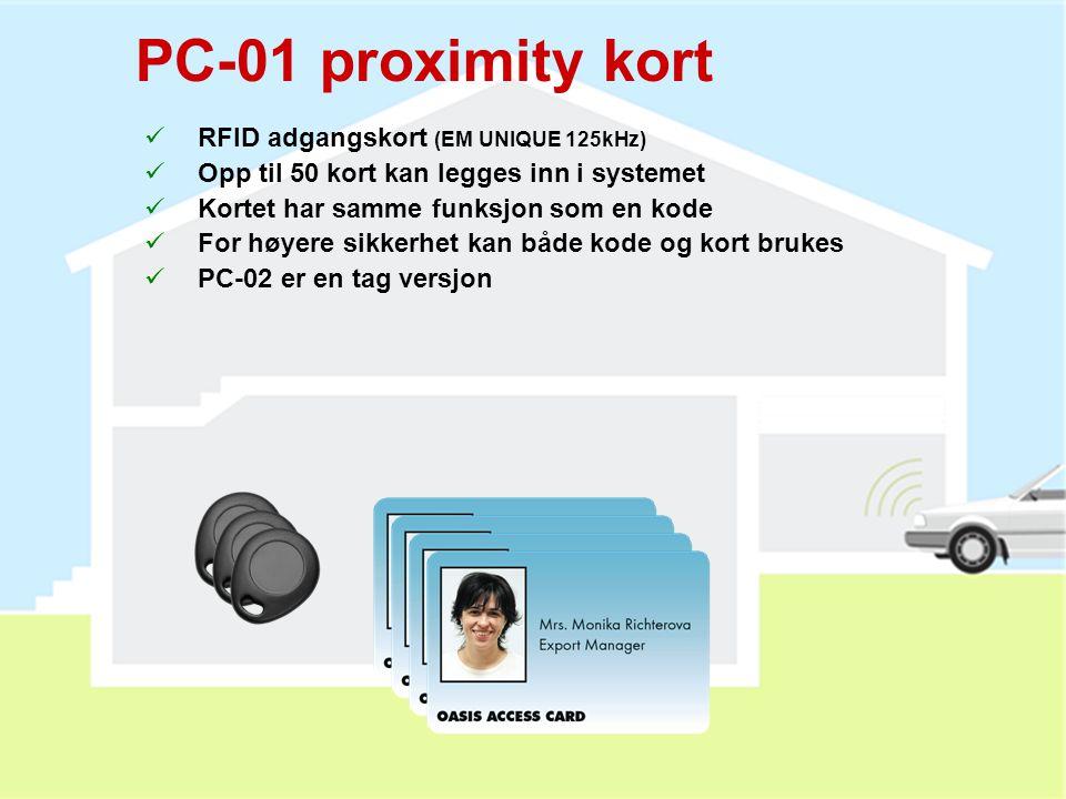 PC-01 proximity kort RFID adgangskort (EM UNIQUE 125kHz)
