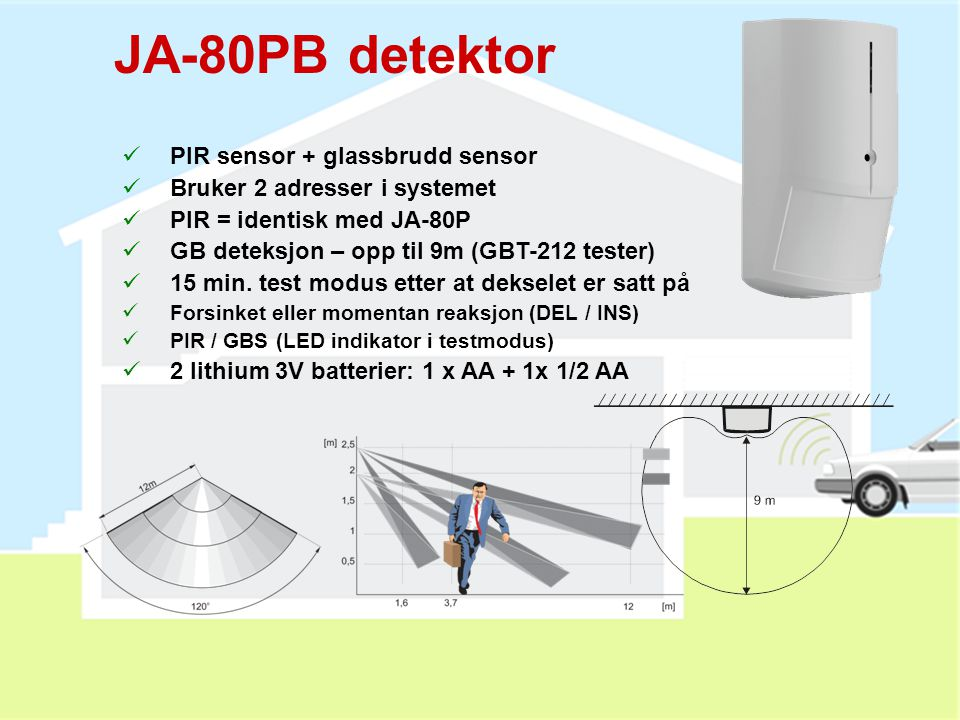 JA-80PB detektor PIR sensor + glassbrudd sensor