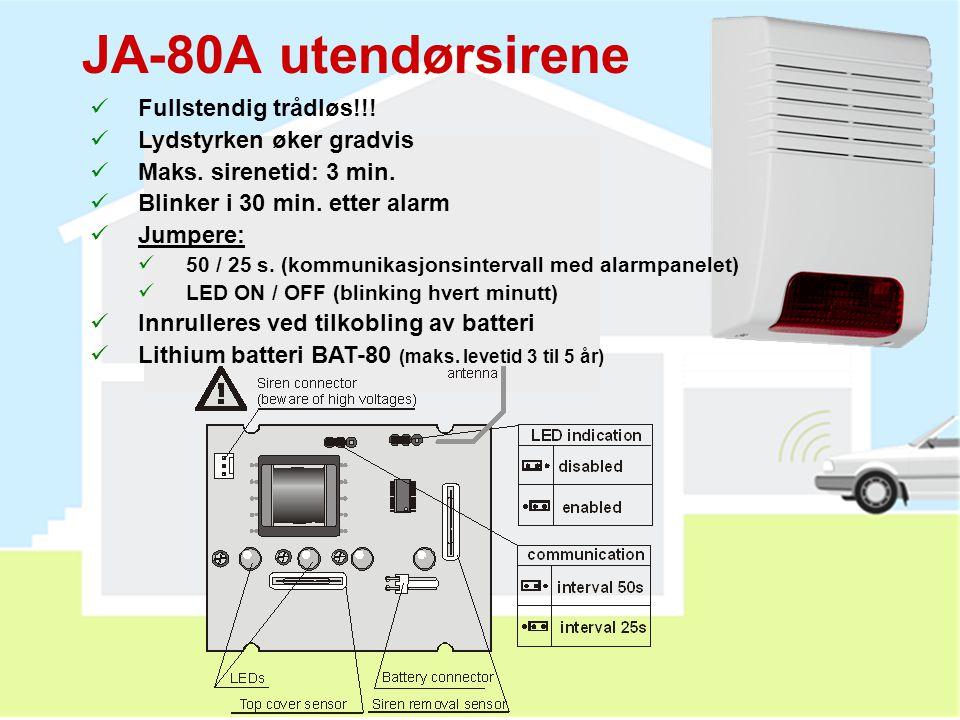JA-80A utendørsirene Fullstendig trådløs!!! Lydstyrken øker gradvis