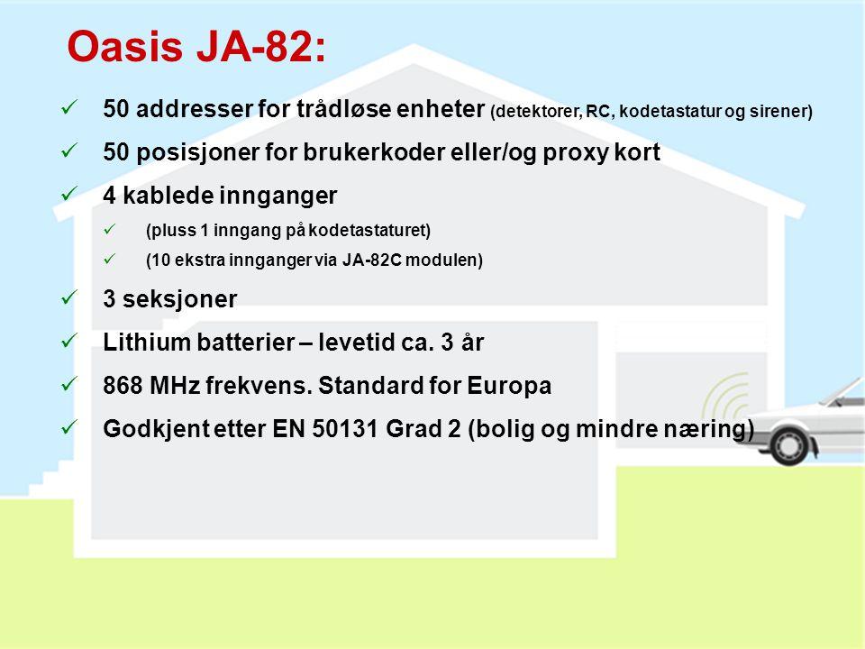 Oasis JA-82: 50 addresser for trådløse enheter (detektorer, RC, kodetastatur og sirener) 50 posisjoner for brukerkoder eller/og proxy kort.