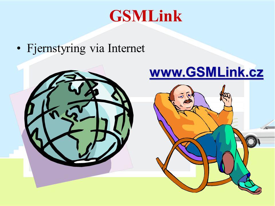 GSMLink Fjernstyring via Internet www.GSMLink.cz