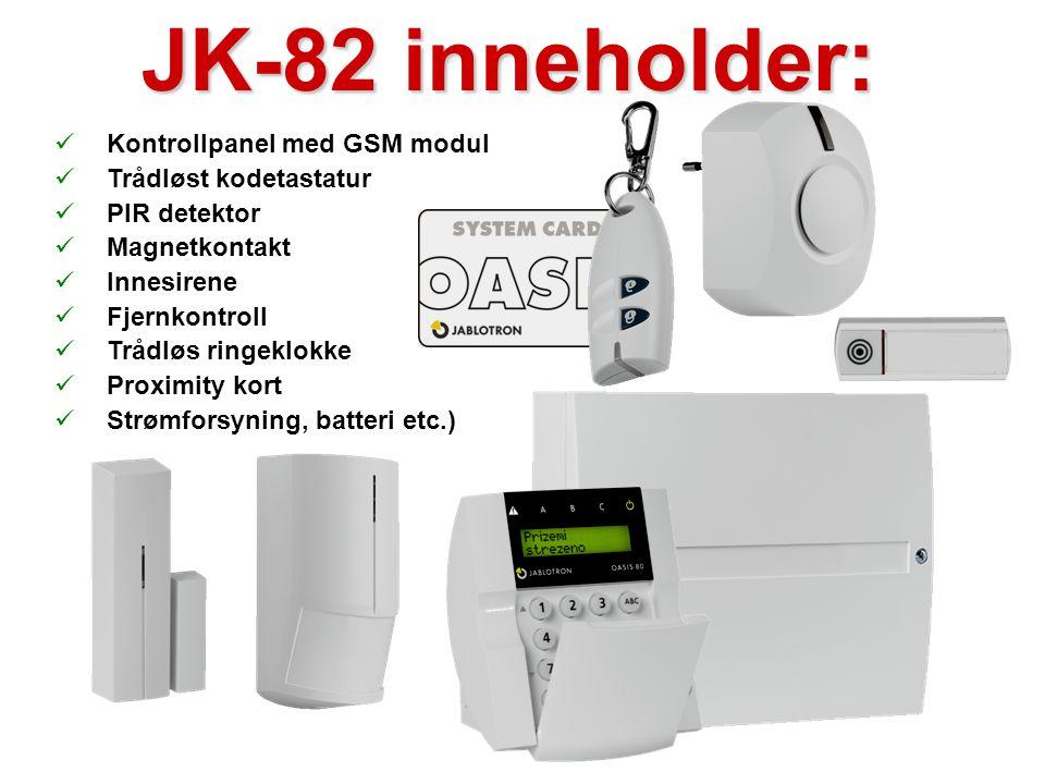 JK-82 inneholder: Kontrollpanel med GSM modul Trådløst kodetastatur
