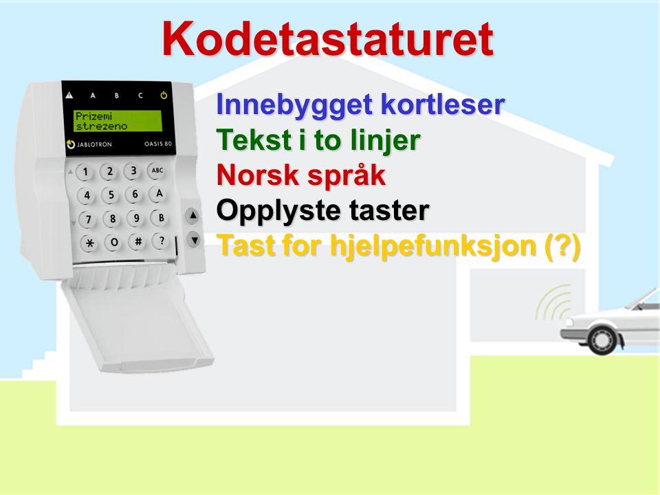 Kodetastaturet Innebygget kortleser Tekst i to linjer Norsk språk