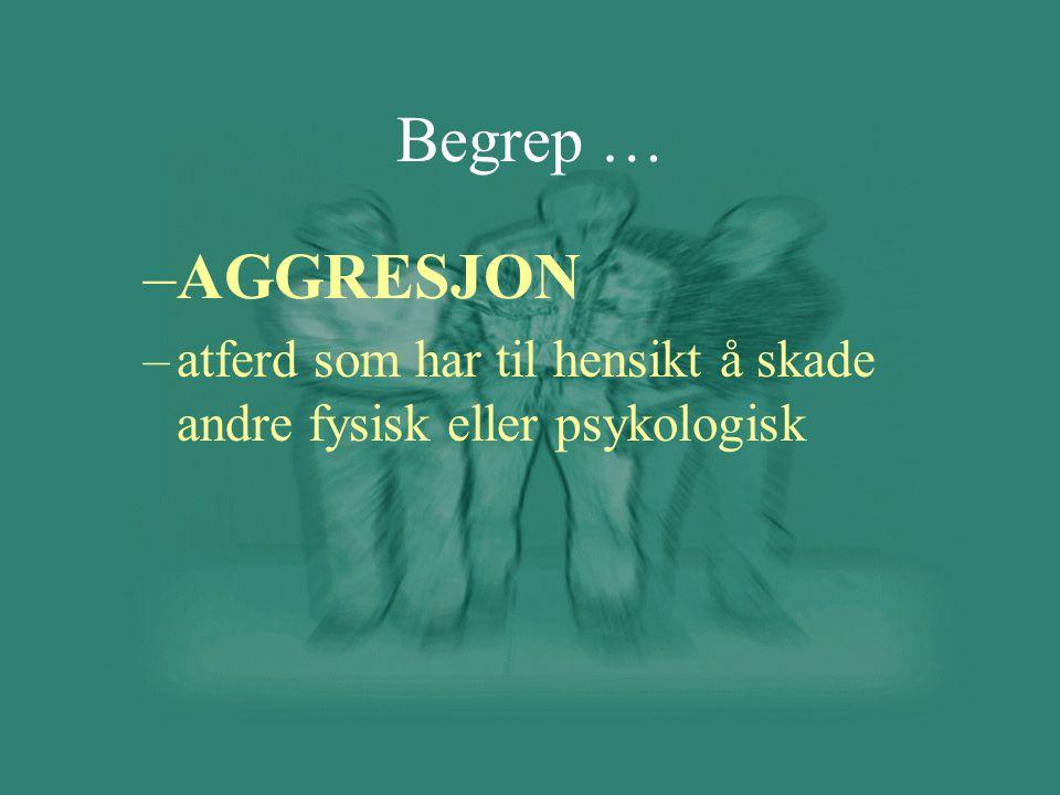 Begrep … AGGRESJON atferd som har til hensikt å skade andre fysisk eller psykologisk
