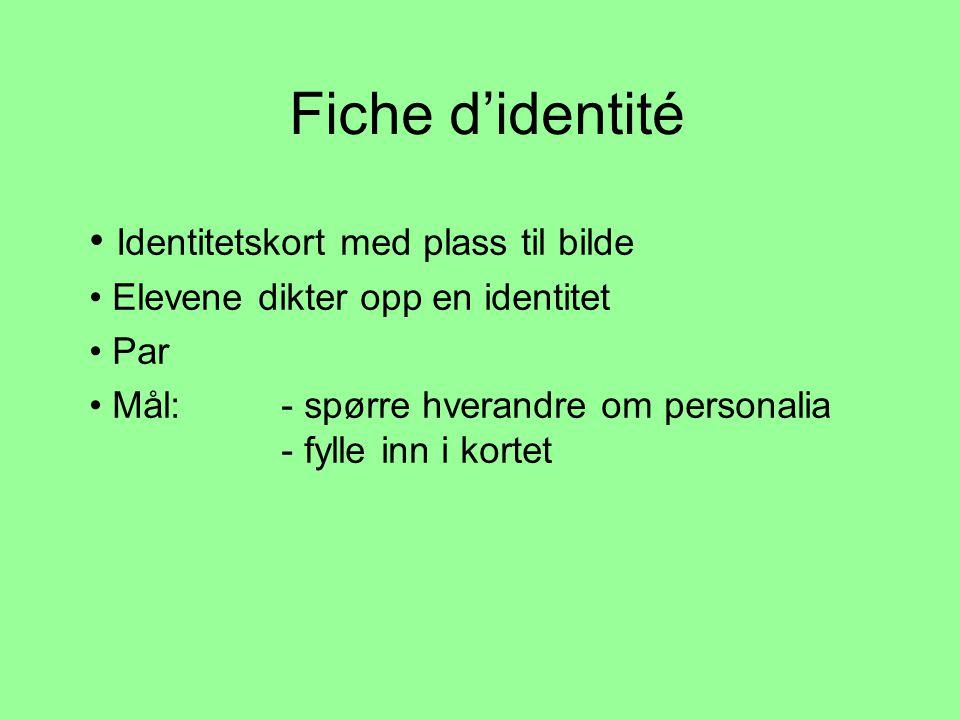 Fiche d'identité Identitetskort med plass til bilde