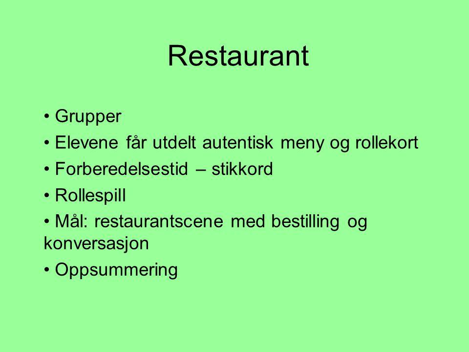 Restaurant Grupper Elevene får utdelt autentisk meny og rollekort