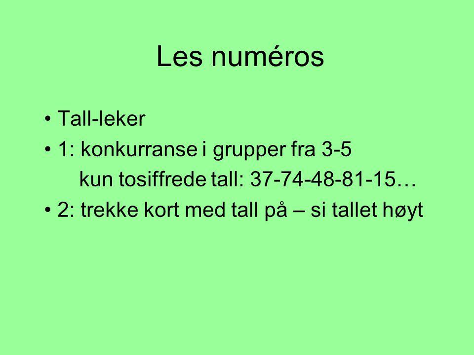 Les numéros Tall-leker 1: konkurranse i grupper fra 3-5