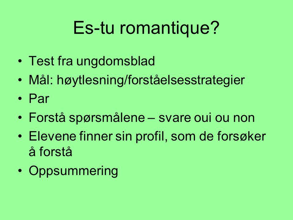 Es-tu romantique Test fra ungdomsblad