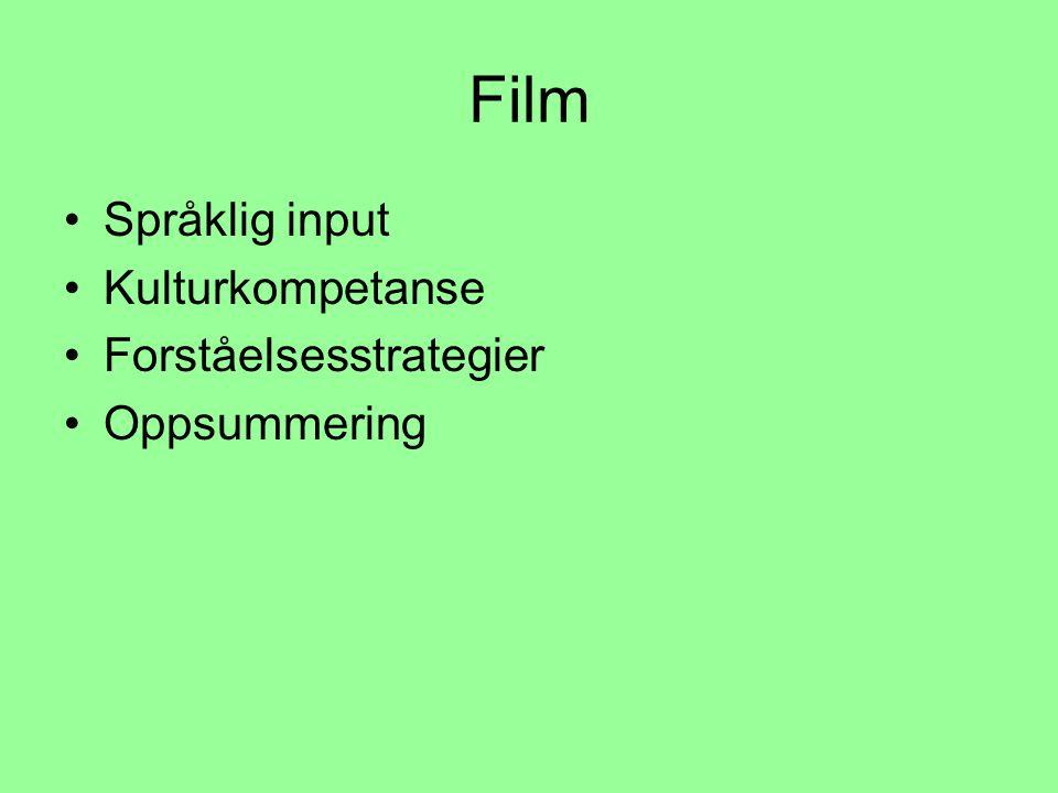 Film Språklig input Kulturkompetanse Forståelsesstrategier