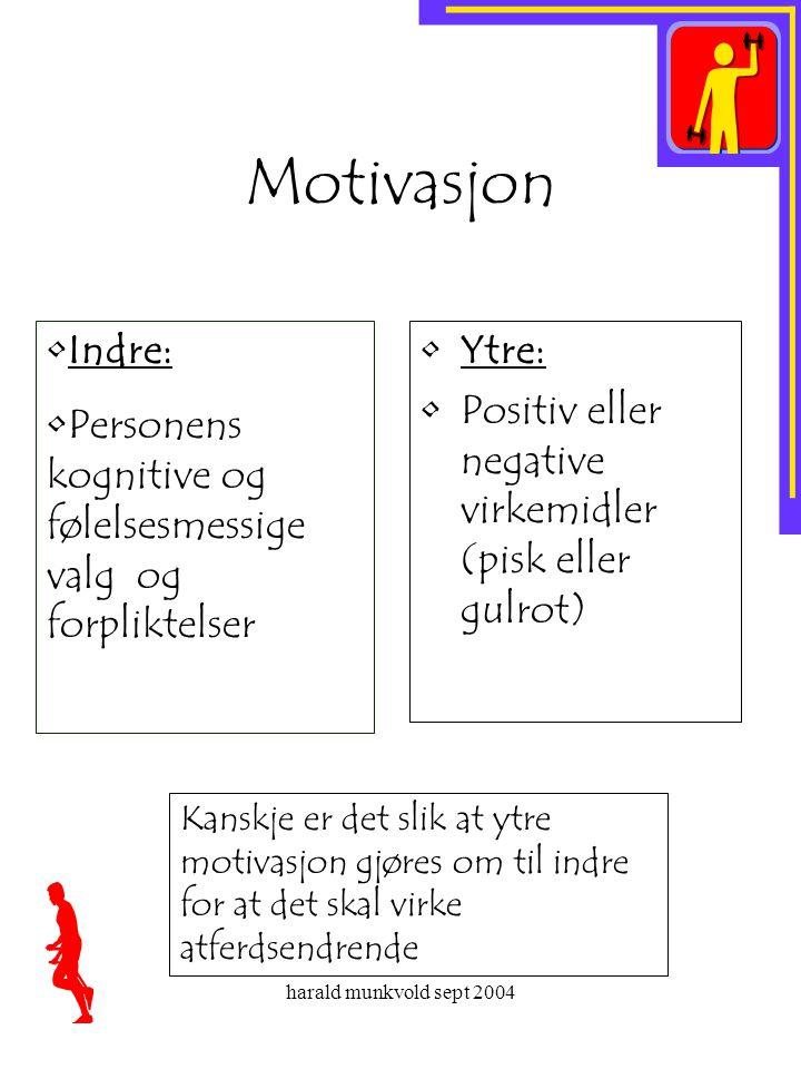 Motivasjon Indre: Personens kognitive og følelsesmessige valg og forpliktelser. Ytre: Positiv eller negative virkemidler (pisk eller gulrot)