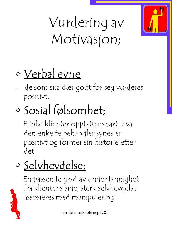 Vurdering av Motivasjon;