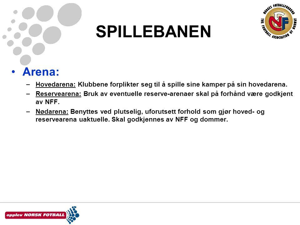 SPILLEBANEN Arena: Hovedarena: Klubbene forplikter seg til å spille sine kamper på sin hovedarena.