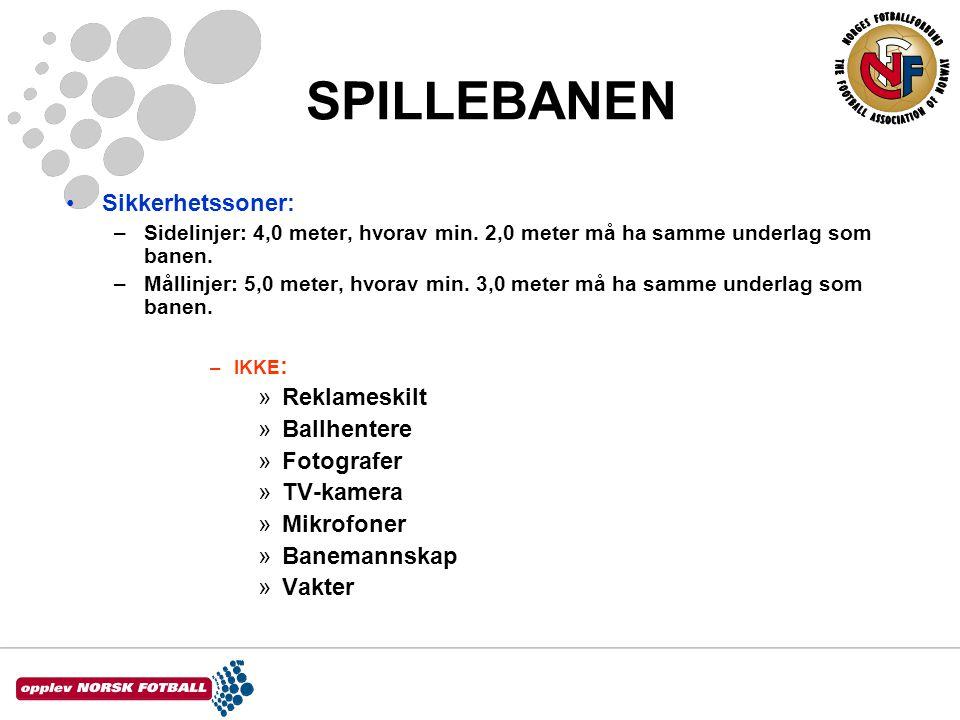 SPILLEBANEN Sikkerhetssoner: Reklameskilt Ballhentere Fotografer