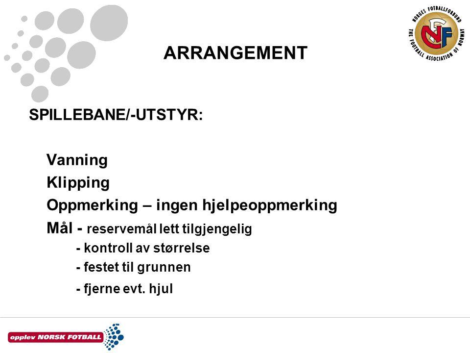 ARRANGEMENT SPILLEBANE/-UTSTYR: Vanning Klipping
