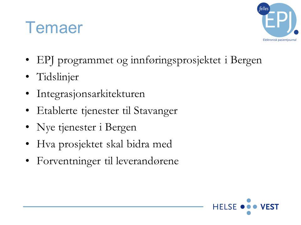 Temaer EPJ programmet og innføringsprosjektet i Bergen Tidslinjer