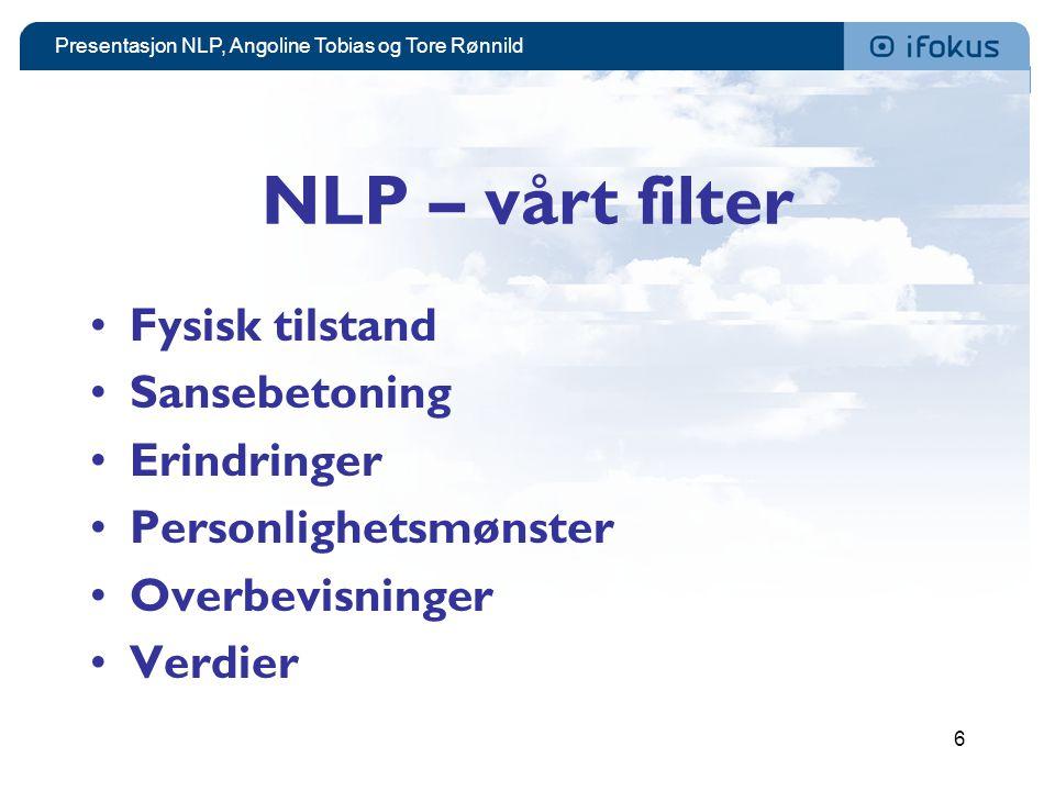 NLP – vårt filter Fysisk tilstand Sansebetoning Erindringer