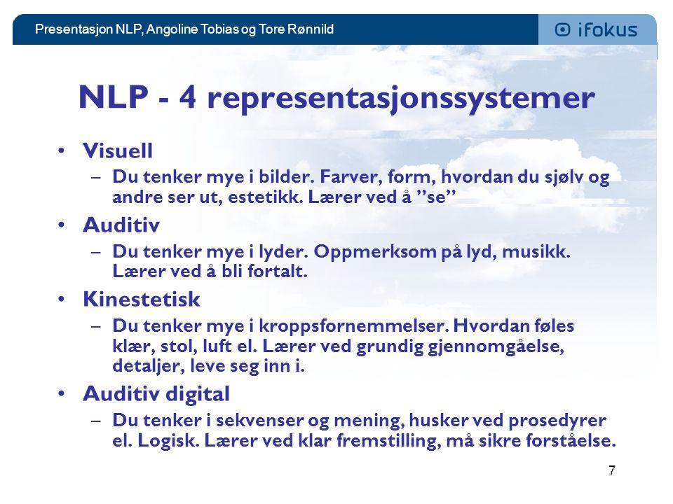 NLP - 4 representasjonssystemer
