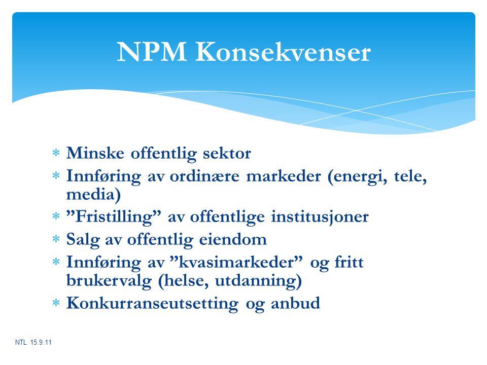NPM Konsekvenser Minske offentlig sektor