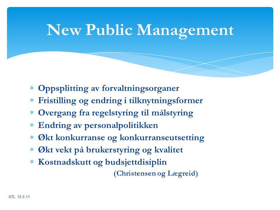 New Public Management Oppsplitting av forvaltningsorganer