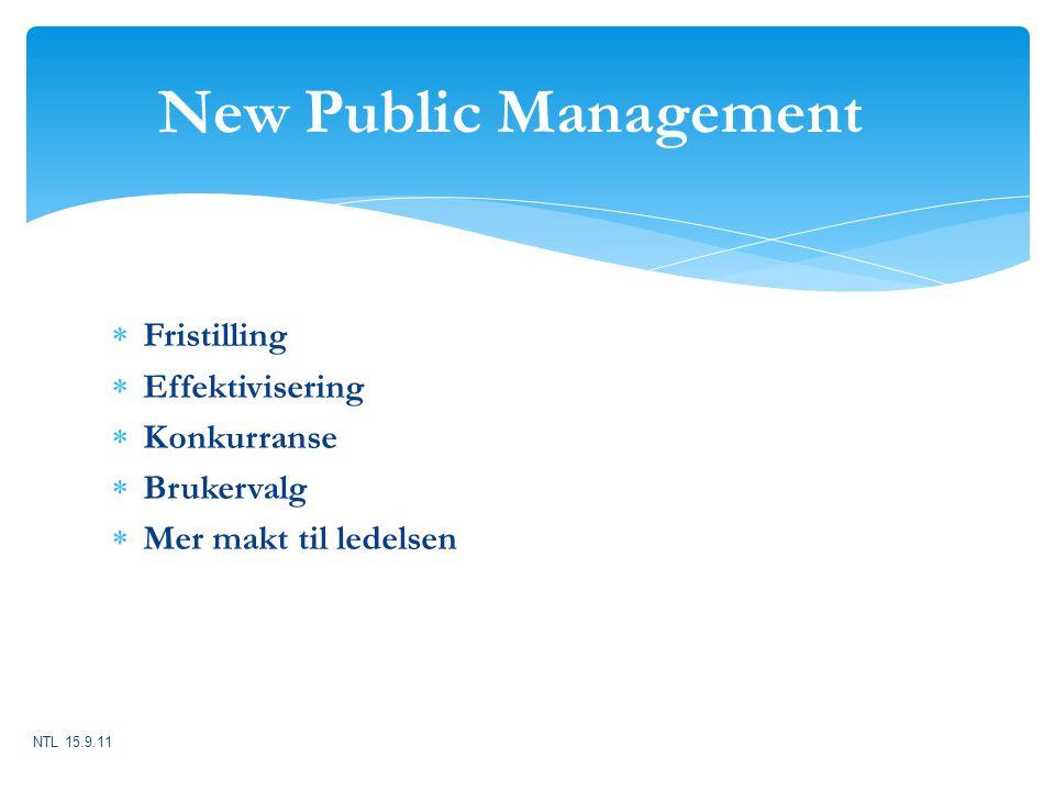 New Public Management Fristilling Effektivisering Konkurranse