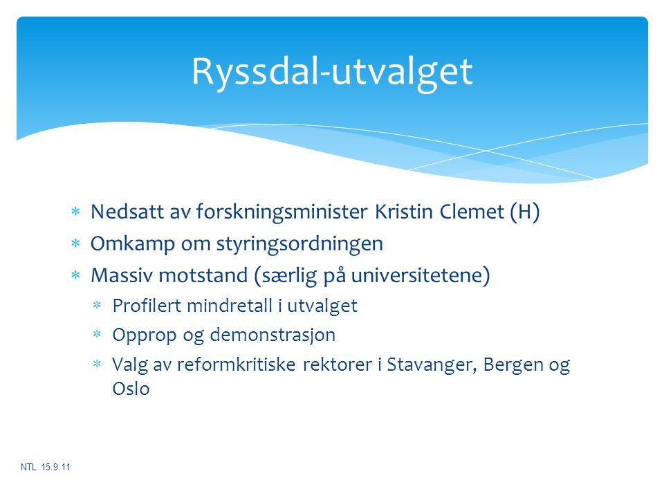 Ryssdal-utvalget Nedsatt av forskningsminister Kristin Clemet (H)