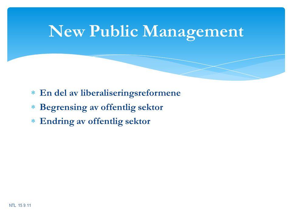 New Public Management En del av liberaliseringsreformene