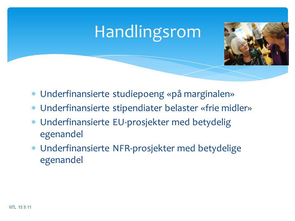 Handlingsrom Underfinansierte studiepoeng «på marginalen»