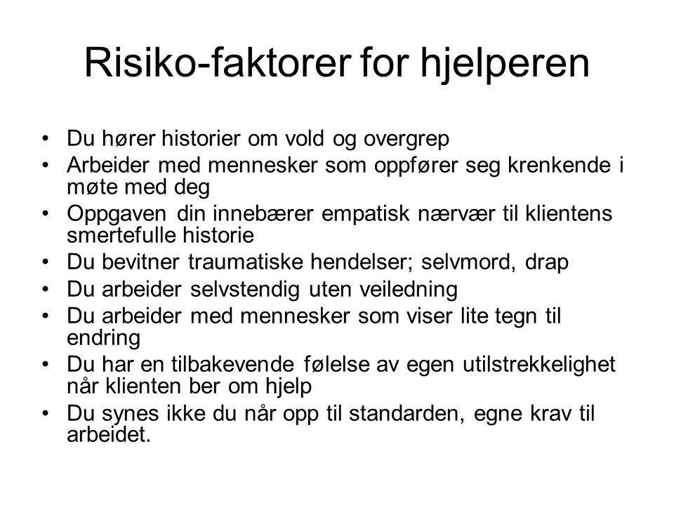 Risiko-faktorer for hjelperen