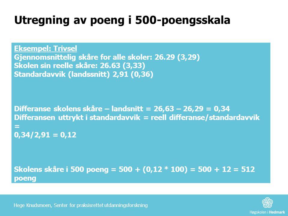 Utregning av poeng i 500-poengsskala