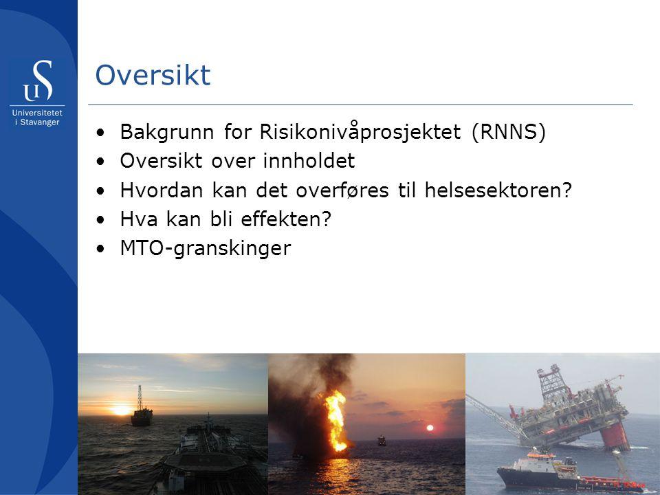 Oversikt Bakgrunn for Risikonivåprosjektet (RNNS)