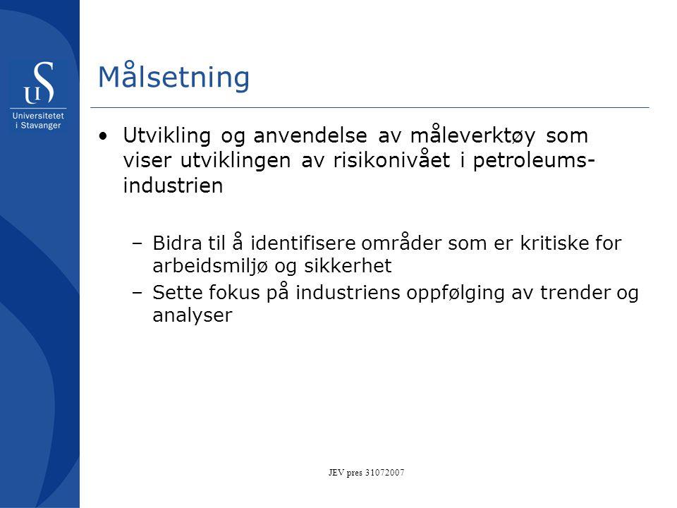 Målsetning Utvikling og anvendelse av måleverktøy som viser utviklingen av risikonivået i petroleums-industrien.