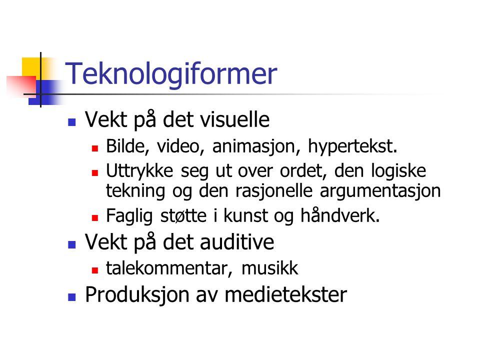 Teknologiformer Vekt på det visuelle Vekt på det auditive