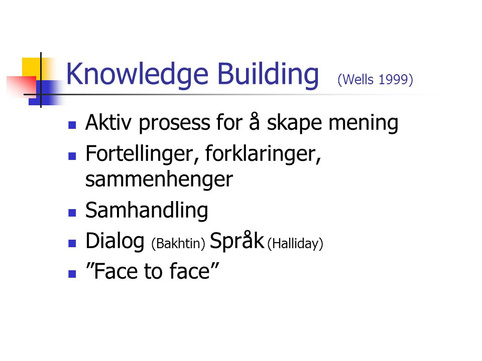 Knowledge Building (Wells 1999)