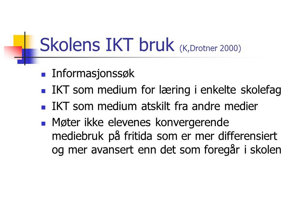 Skolens IKT bruk (K,Drotner 2000)
