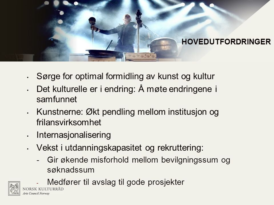 Sørge for optimal formidling av kunst og kultur