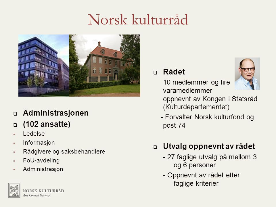 Norsk kulturråd Rådet Administrasjonen Utvalg oppnevnt av rådet