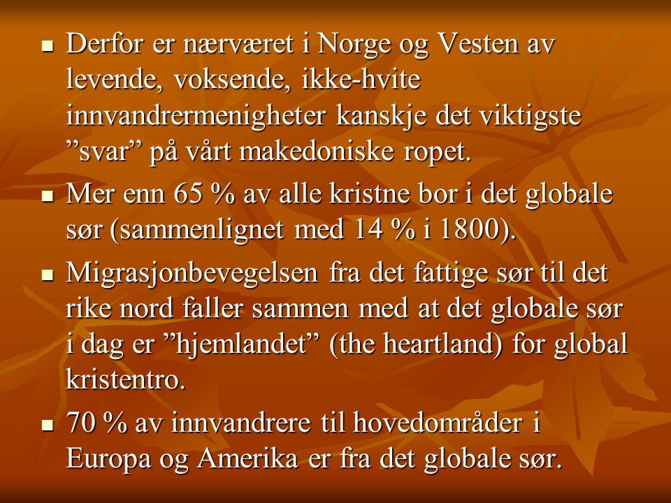 Derfor er nærværet i Norge og Vesten av levende, voksende, ikke-hvite innvandrermenigheter kanskje det viktigste svar på vårt makedoniske ropet.