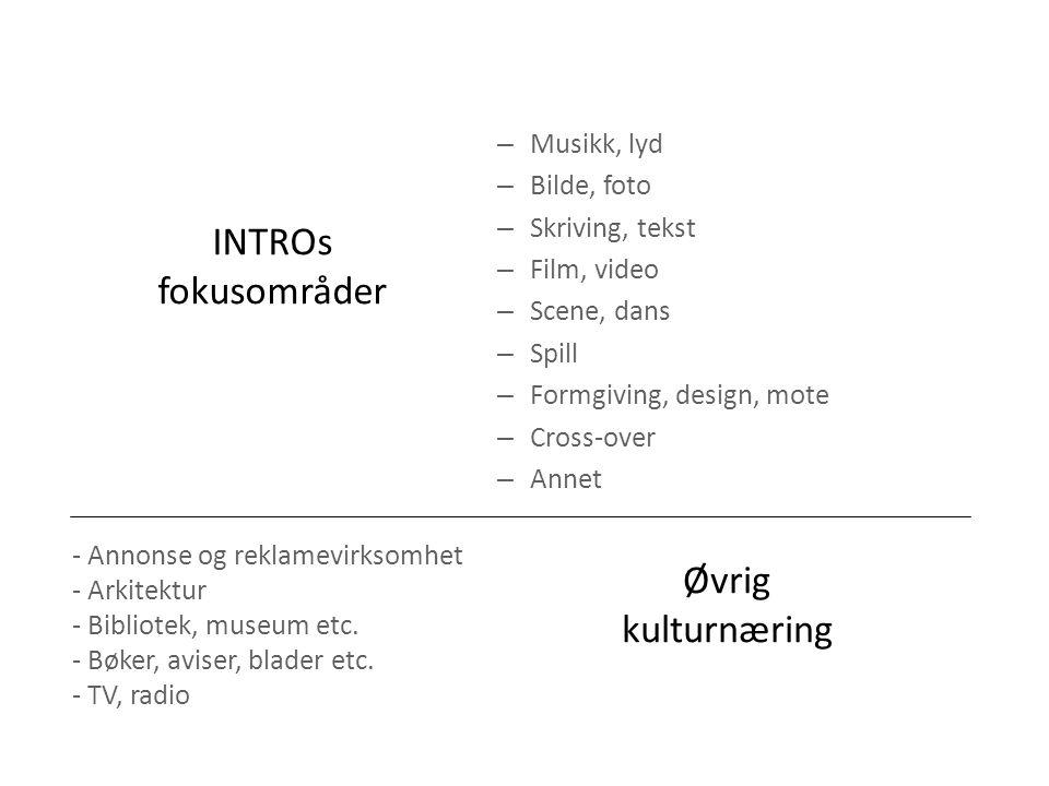 INTROs fokusområder Øvrig kulturnæring Musikk, lyd Bilde, foto