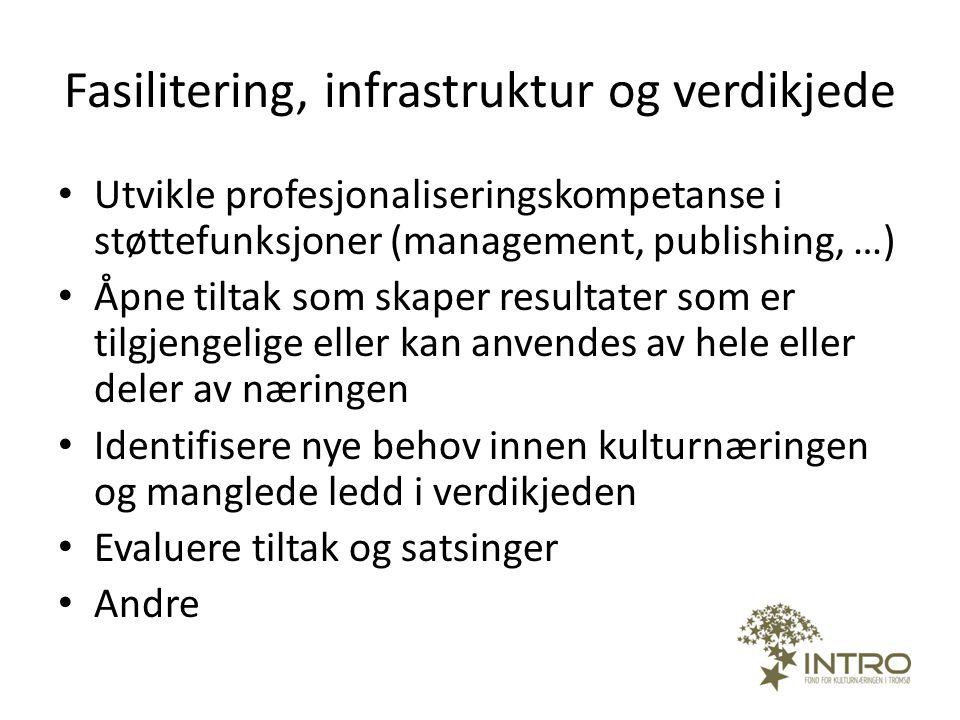 Fasilitering, infrastruktur og verdikjede