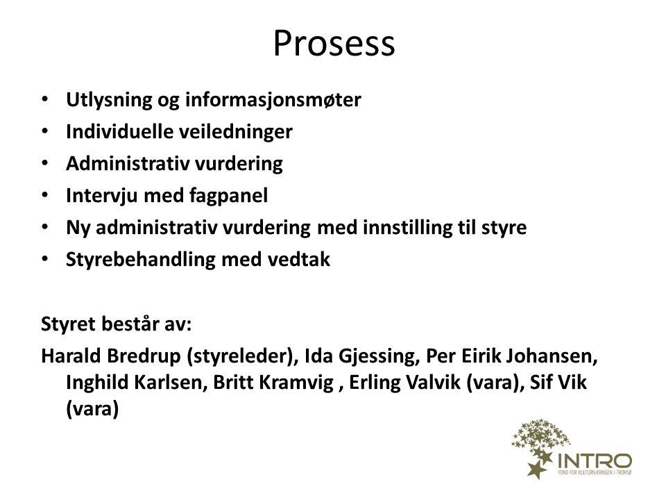 Prosess Utlysning og informasjonsmøter Individuelle veiledninger