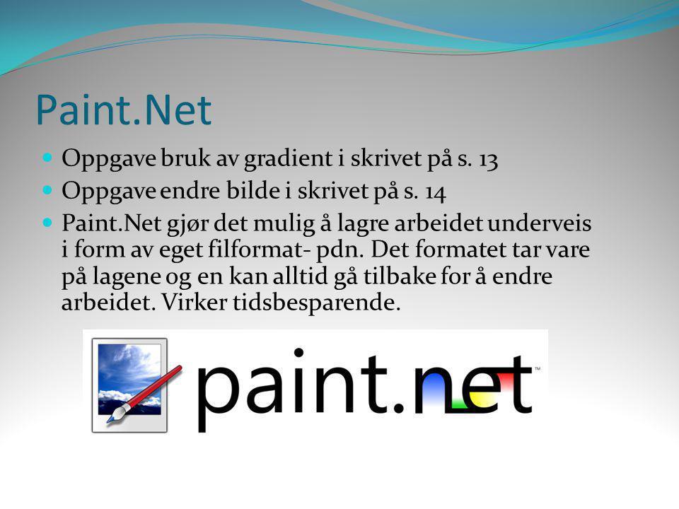 Paint.Net Oppgave bruk av gradient i skrivet på s. 13