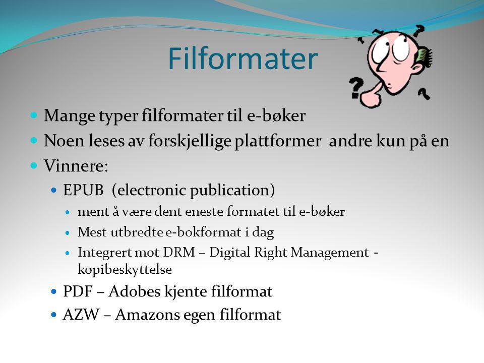 Filformater Mange typer filformater til e-bøker