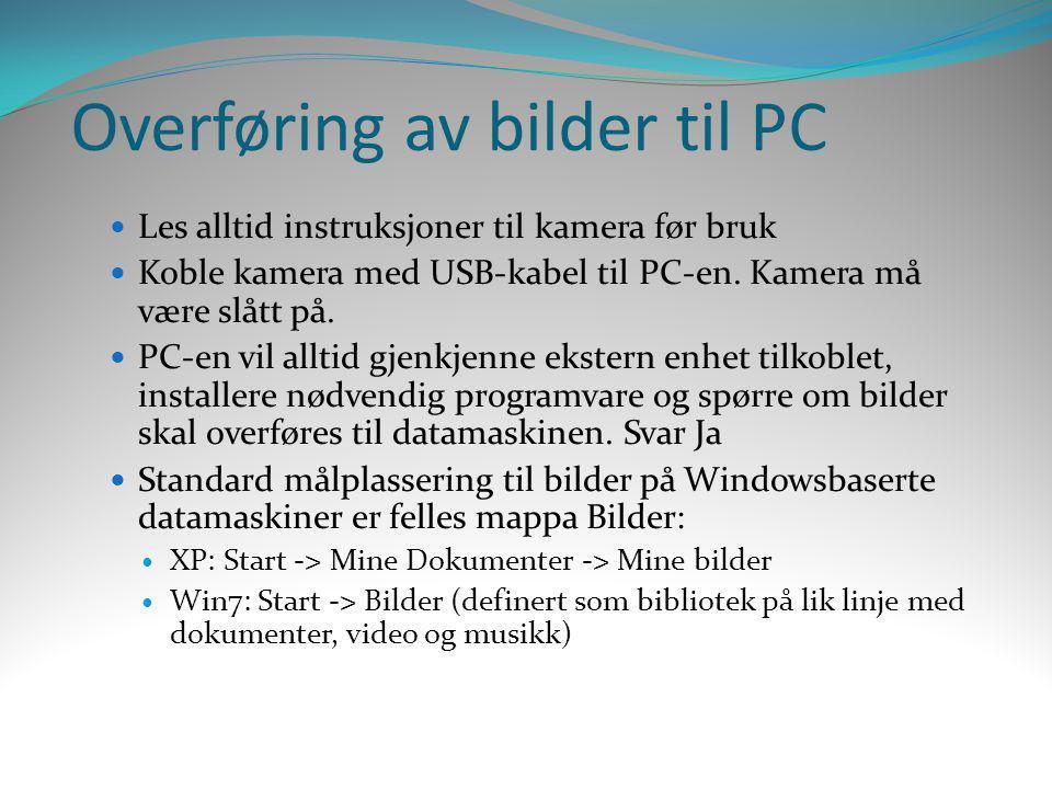 Overføring av bilder til PC