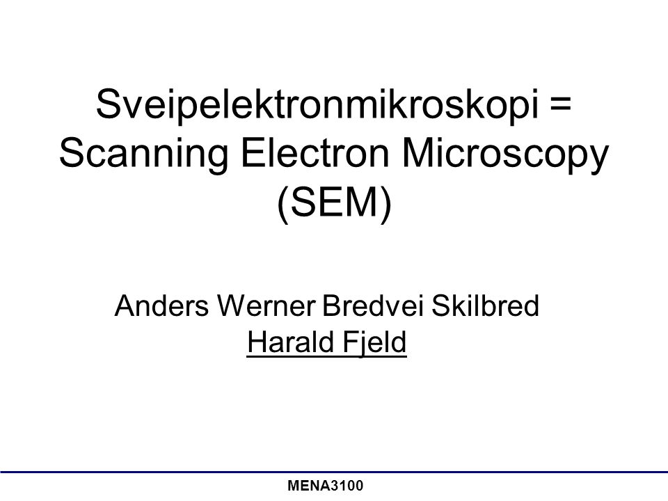 Sveipelektronmikroskopi = Scanning Electron Microscopy (SEM)