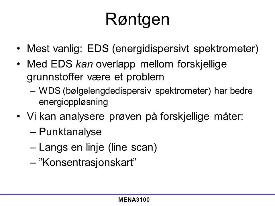 Røntgen Mest vanlig: EDS (energidispersivt spektrometer)