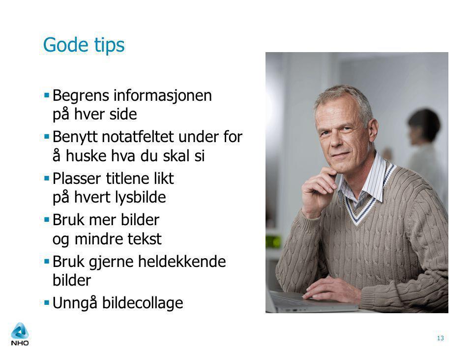 Gode tips Begrens informasjonen på hver side