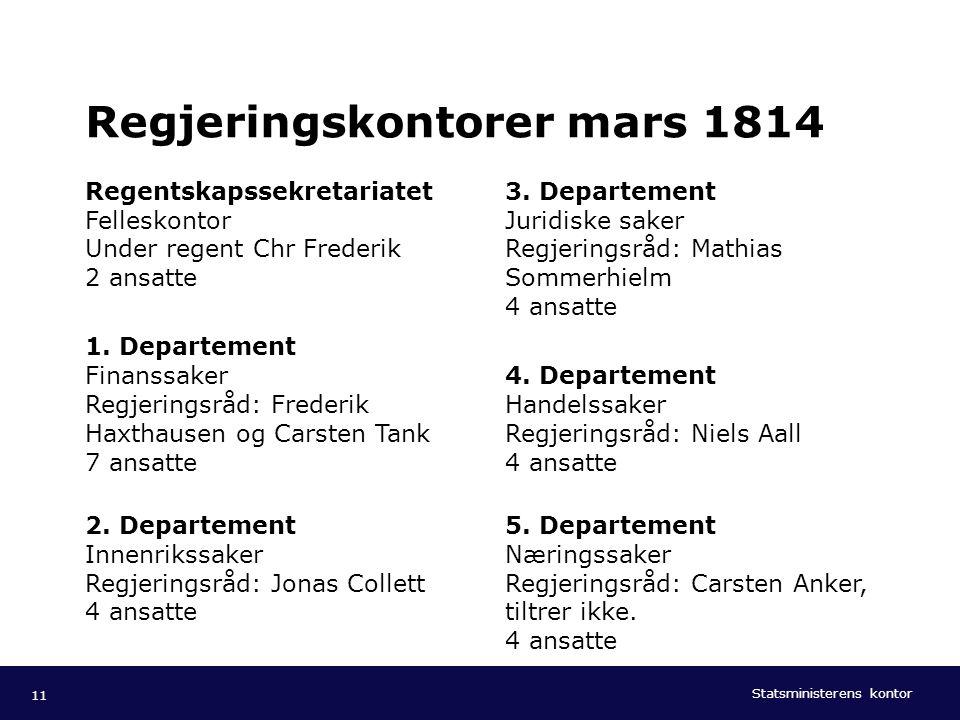 Regjeringskontorer mars 1814