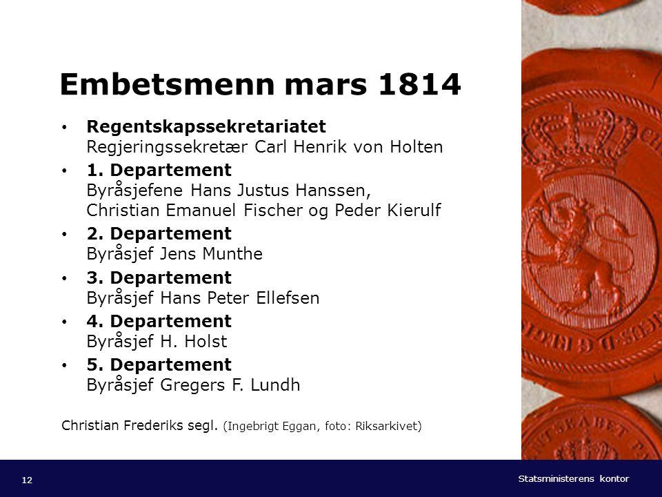 Embetsmenn mars 1814 Regentskapssekretariatet Regjeringssekretær Carl Henrik von Holten.
