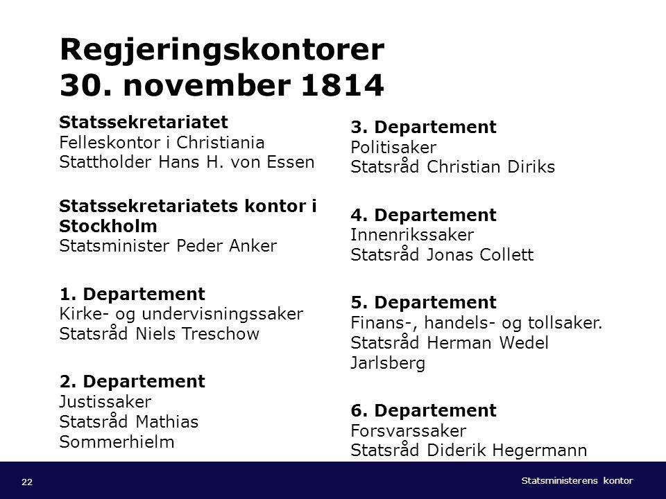 Regjeringskontorer 30. november 1814